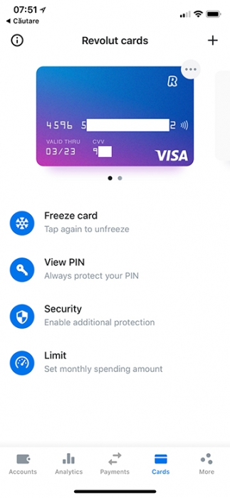 Cardul virtual Revolut